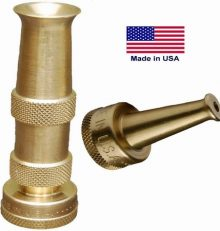 Brass Hose Nozzle – Adjustable Spray Patterns – Made in USA